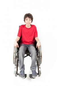boy with cerebral palsy in wheelchair