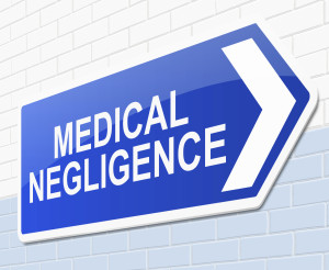 Illustration depicting a sign with a medical negligence concept.