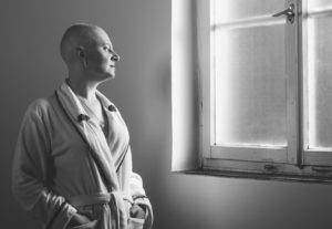 Chemotherapy baldness woman suffering from cancer