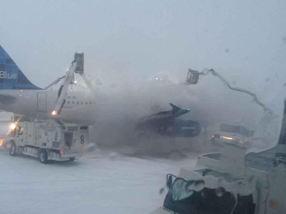 Jet Blue Icy Takeoff